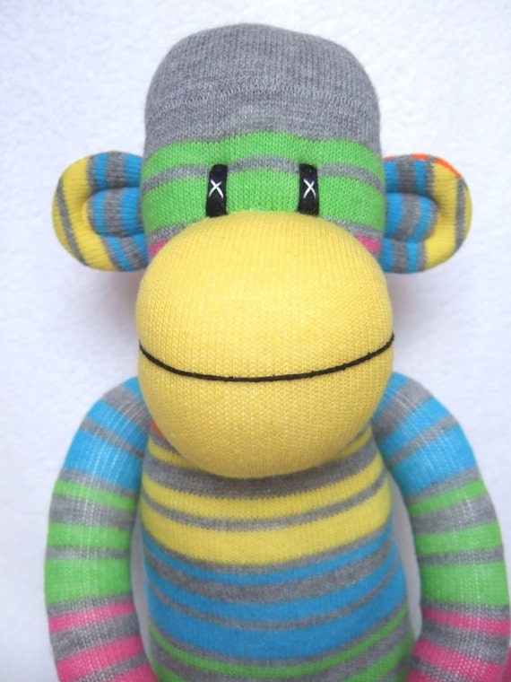 Bright Neon Striped Sock Monkey made to order