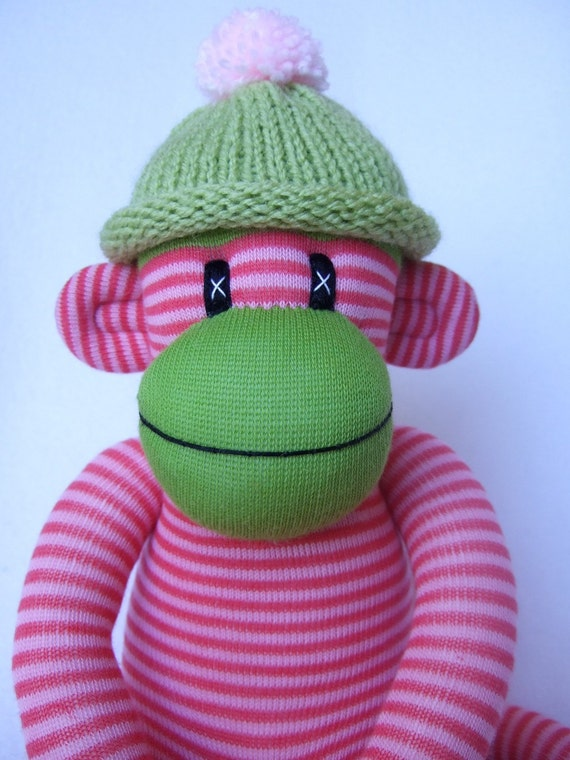 Funny Pin Striped Sock Monkey Made to Order