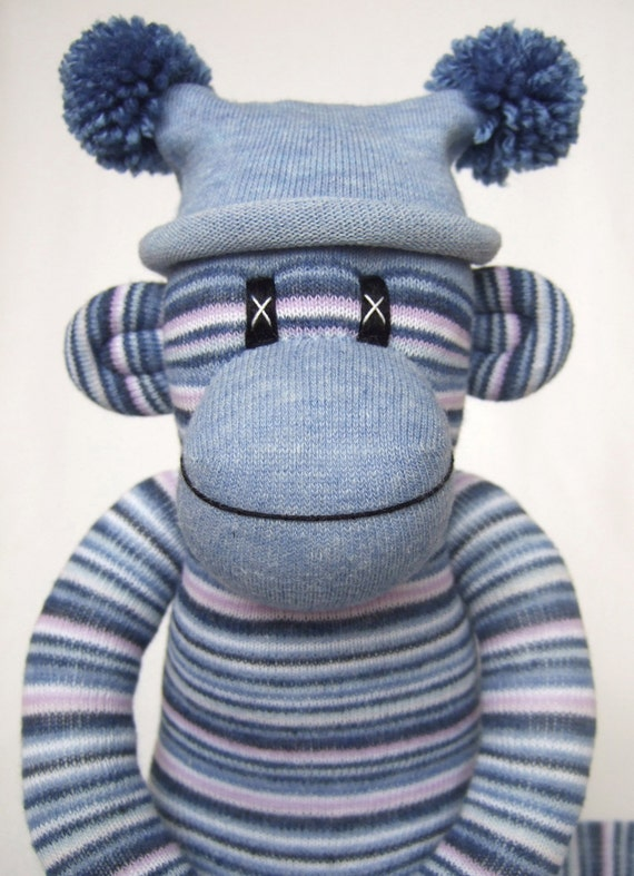 Blue Pin Striped Sock Monkey made to order