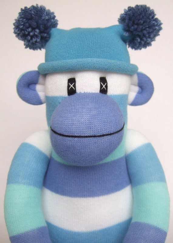 Blue Striped Sock Monkey