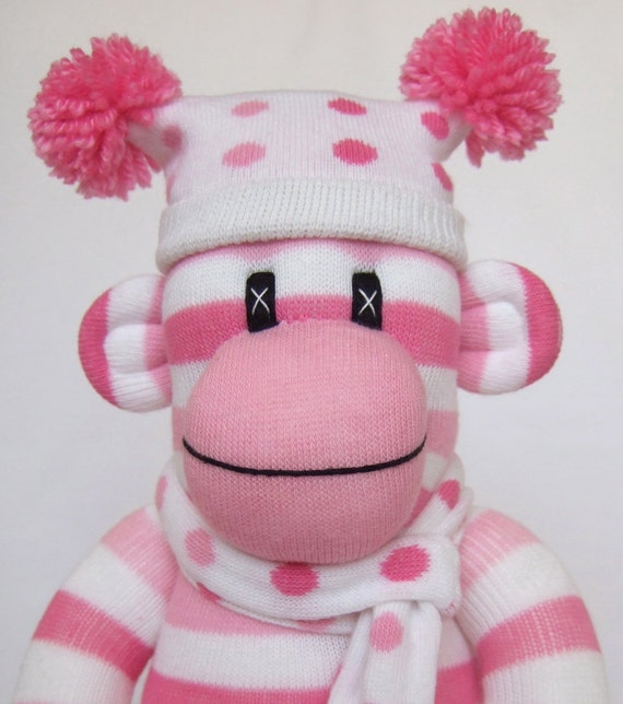 Cute Pink Candy Stripe Sock Monkey made to order