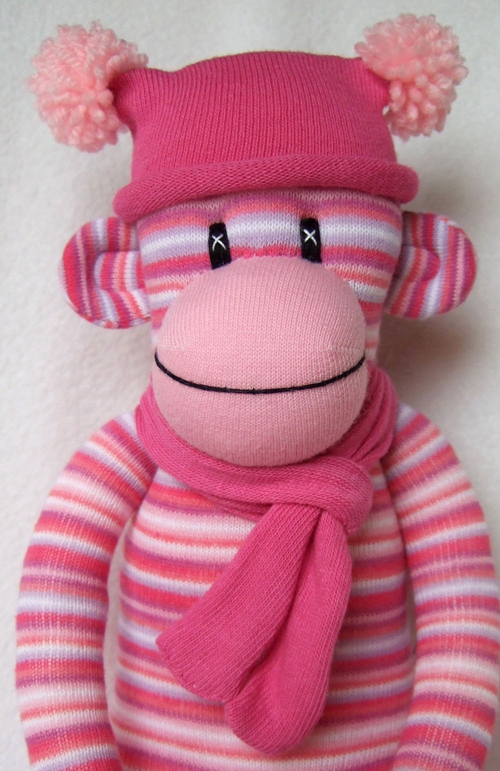 Pink Candy Pin Striped Sock Monkey Made To Order