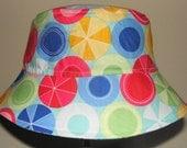 Kids Child Children Reversible Fabric Bucket Hat Beach Balls