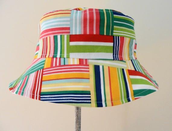 Kids Child Children Reversible Fabric Bucket Hat Plaid & Polka Dots