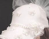 Bride's Satin, Pearl and Roses Baseball Cap with Tulle Veil