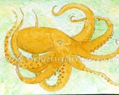 ACEO ORIGINAL watercolor painting of an OCTOPUS from Exhibited Artist