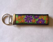 Key Fob in Green Floral