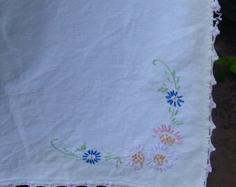 Vintage Tablecloth Hand Emboirdered CLEARANCE