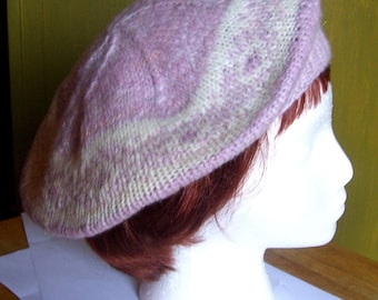 Handknit Wool Beret/Tam pink and white handspun yarn CLEARANCE