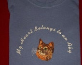 Ladies Tee with Embroidered Abyssinian Cat