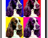 ENGLISH SPRINGER SPANIEL DOG POP ART by SHEENA FRAMED