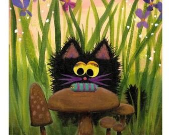CATERPILLAR AND BLACK CAT Matted Print
