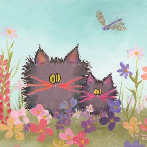 GRAY SCAREDY CATS IN GARDEN Matted Print