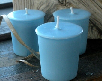 Blue Soy Votive Candles, Unscented, set of 24