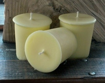 Yellow Soy Votives, Unscented set of 12