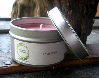 Love Spell Scented Soy Candle, Travel Tin 6 oz