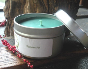 Pine Tree, Balsam Fir Soy Candle 6 oz travel tin