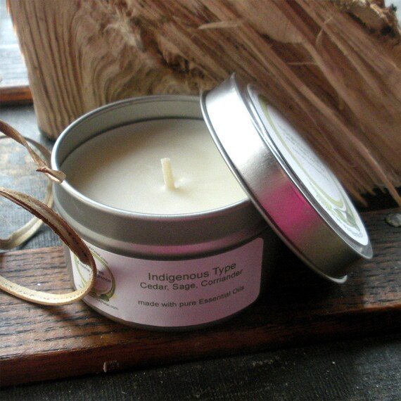 Indigenous Type Soy Candle 6 oz  Travel Tin  Essential Oils of Coriander, Sage and Cedar