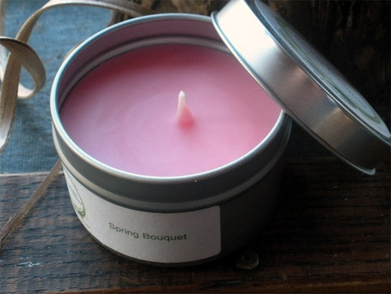 Spring Bouquet Floral Scented Soy Candle Travel Tin 6 oz