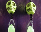 Green Skull and flourite earrings