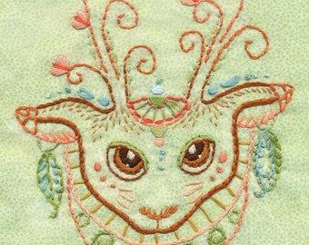 Moki Deer totem Embroidery Pattern Boho decor PDF download hand embroidery patterns designs