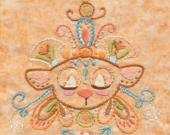 Honaw Bear totem Embroidery Pattern PDF Boho decor design