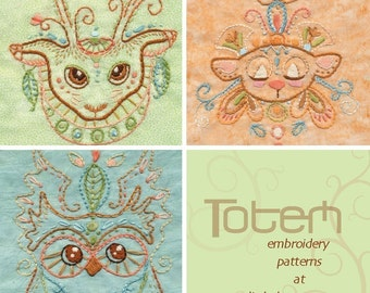 Set of 3 animal totem Embroidery Patterns Boho decor PDF download hand embroidery patterns designs