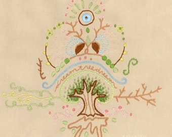 Dream Tree Embroidery pattern Boho decor PDF download hand embroidery patterns designs