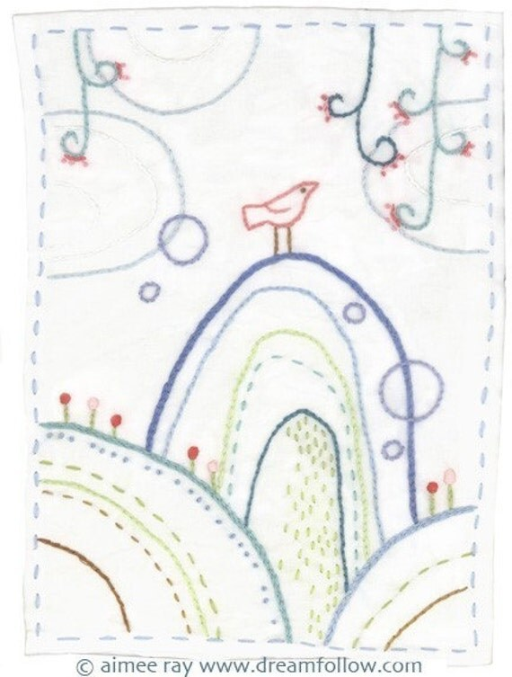 Bird Hill Embroidery Pattern PDF download hand embroidery patterns designs