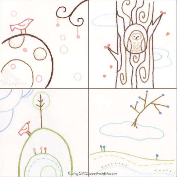 Set of 4 Bird and Tree Embroidery Patterns series 1 PDF download hand embroidery patterns designs