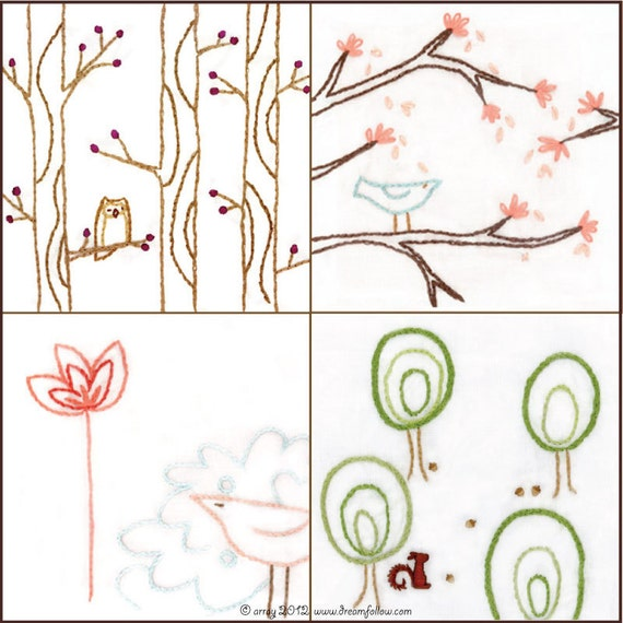 Set of 4 Bird and Tree Embroidery PDF Patterns series 2