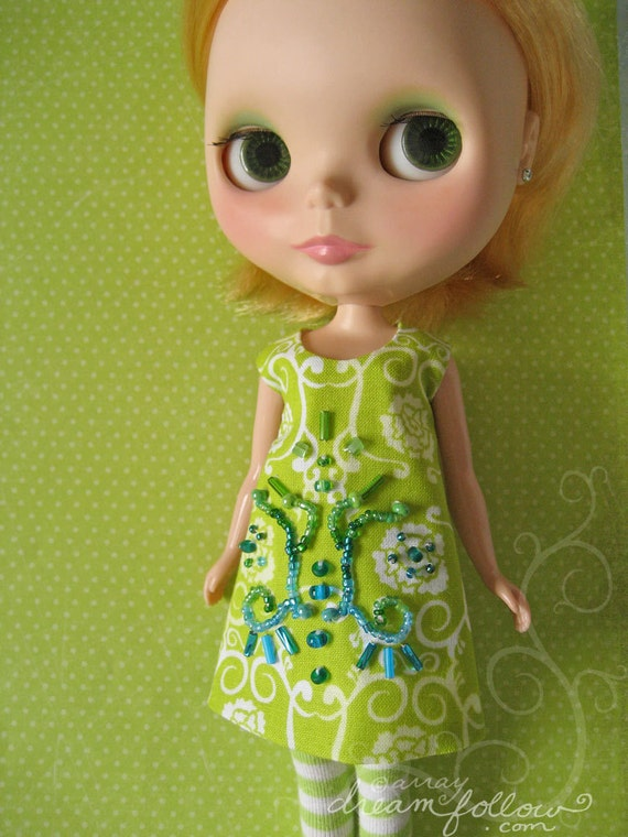 Green India beaded Blythe dress