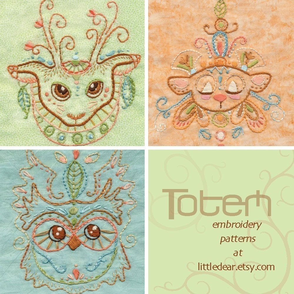 Set Of 3 Animal Totem Embroidery Patterns Boho Decor PDF