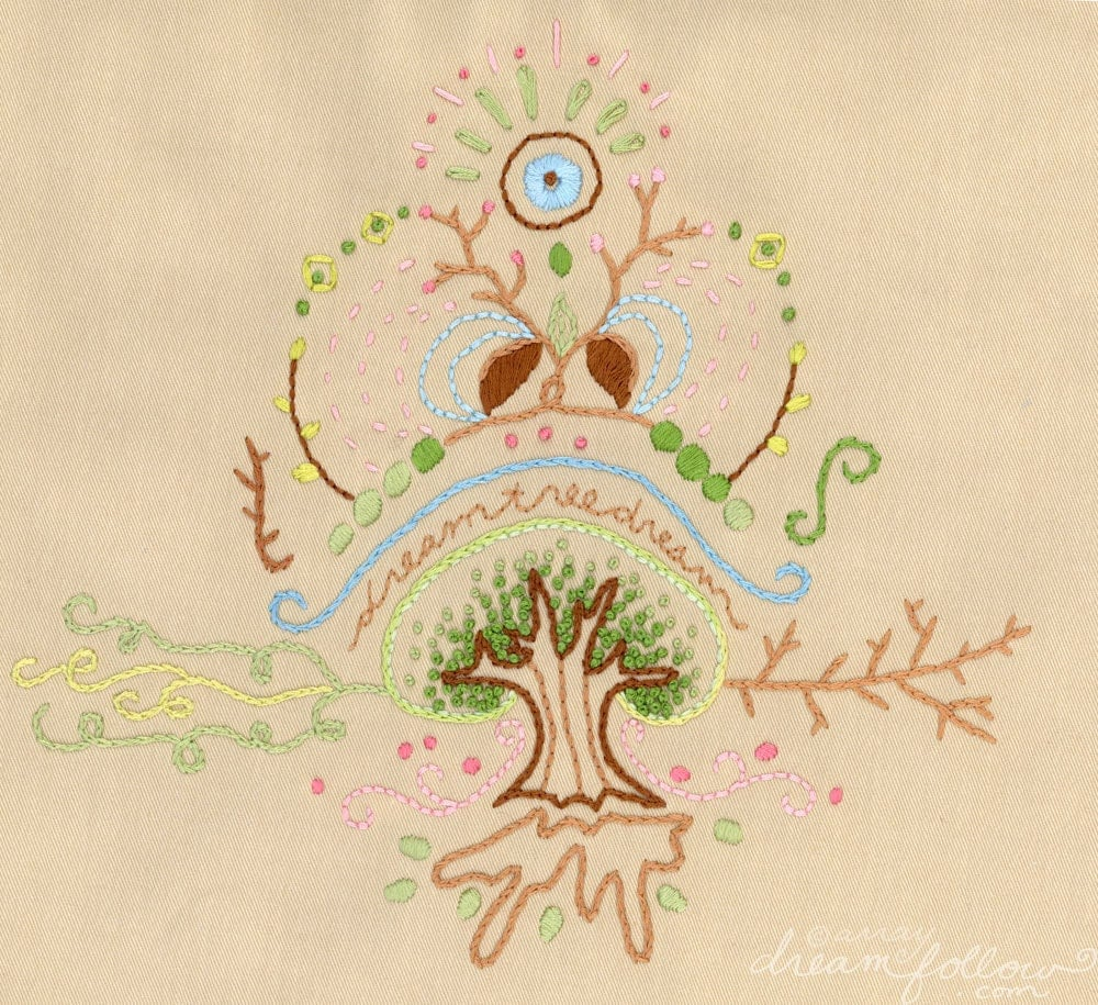 Dream Tree Embroidery Pattern Boho Decor PDF Download Hand