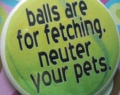 balls are for fetching .. neuter your pet badge or magnet