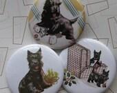 set of 3 vintage scotty dog badges or magnets