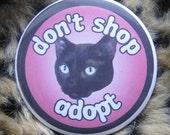 dont shop... adopt ... black cat mirror or keychain