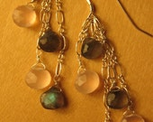 Pink Chalcedony and Labradorite Dangles