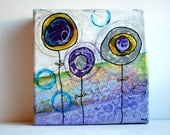 "1 ochre, 1 purple, 1 grey flower - 5""x5"" original acrylic painting and collage on canvas"