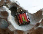 """trapped - original handmade 1"""" x 1"""" domed glass pendant with chain"""