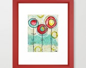 1 blue, 2 red flowers (reproduction print)