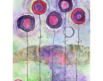pink, purple, flowers, blooms, summer, flowers reproduction of mixed media painting