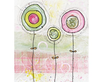 2 green, 1 pink flower (reproduction print)