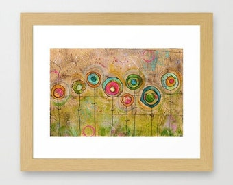 cloth paper scissors, wall art, home decor, modern flowers, contemporary art, flower garden, summer garden, mixed media art, whimsical art