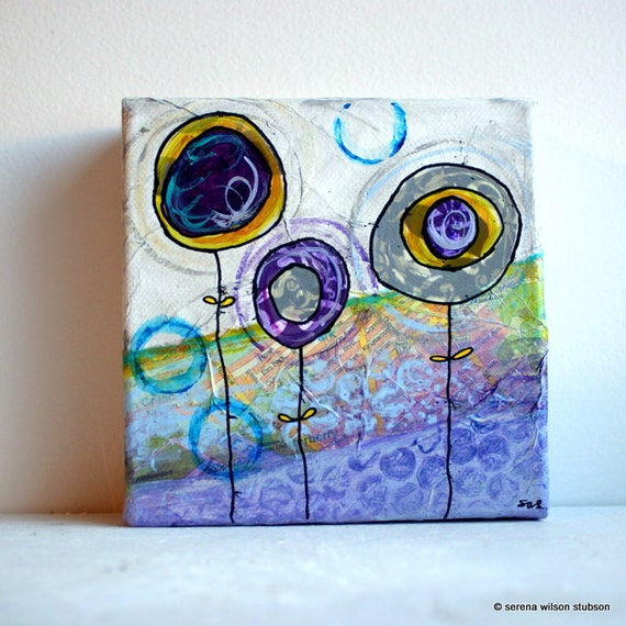 """1 ochre, 1 purple, 1 grey flower - 5""""x5"""" original acrylic painting and collage on canvas"""