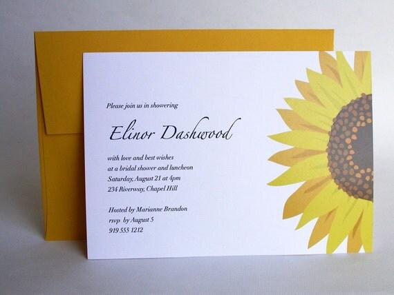 sunflower bridal shower invitation by gallardoworks on etsy, Bridal shower invitations