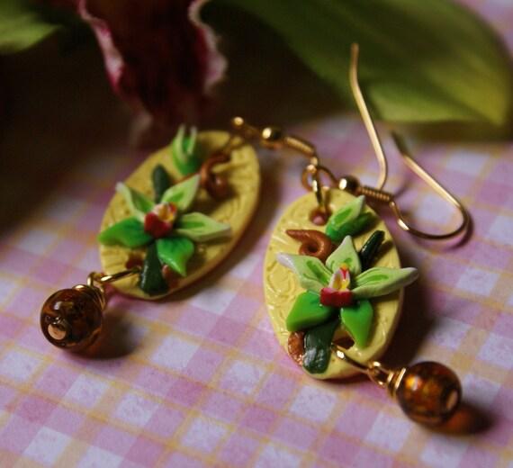 Beaded Cymbidium Earrings