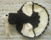 Crocheted Plush Amigurumi Style Black and Ivory Betta Fish
