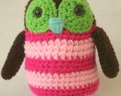 Crocheted Plush Amigurumi Style Pink Striped Owl