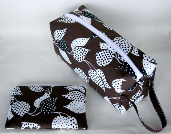 Brown and White Leaves Large Box bag